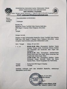 PENGUMUMAN RAPAT BERSAMA ORANGTUA/WALI PESERTA DIDIK BARU SMKN 5 KUPANG TP 2021/2022
